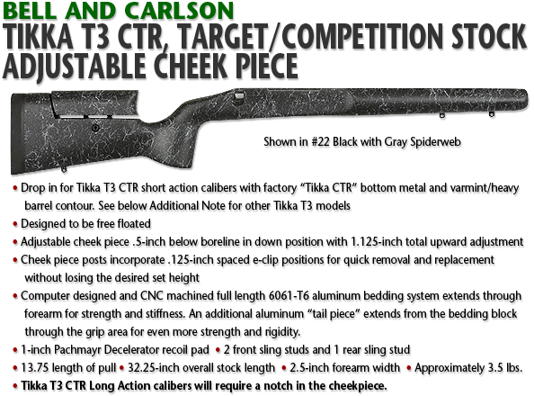 Tikka T3 CTR Target/Competition Rifle Stock, Adjustable Cheek Piece