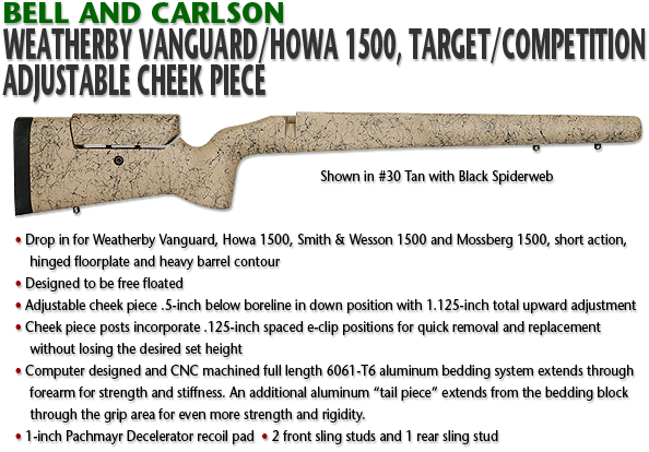Bell and Carlson Weatherby Vanguard/Howa 1500, Target/Competition, Adjustable Cheekpiece