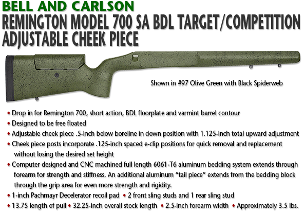 Bell and Carlson Remington 700 SA BDL, Target/Competition, Adjustable Cheekpiece