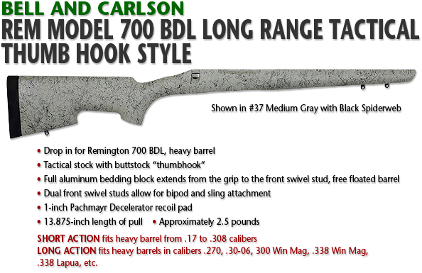 Bell and Carlson Remington 700 BDL Long Range Tactical, Thumb Hook Style
