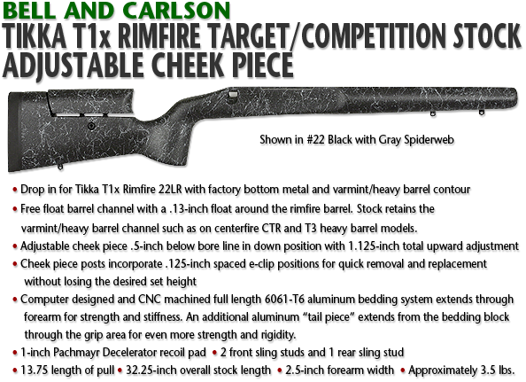 Tikka T1x Rimfire Target/Competition Rifle Stock, Adjustable Cheek Piece