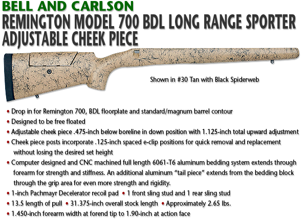 Bell and Carlson Remington 700 BDL, Long Range Sporter, Adjustable Cheekpiece